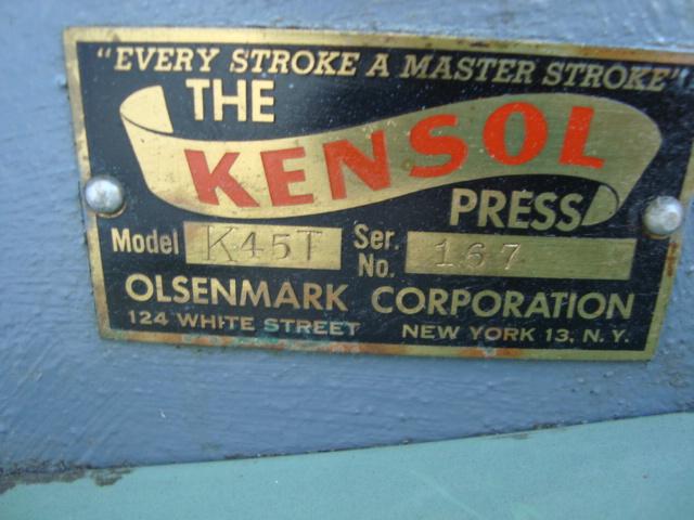 KENSOL FOIL STAMPING, MODEL K45T, SN# 167 1