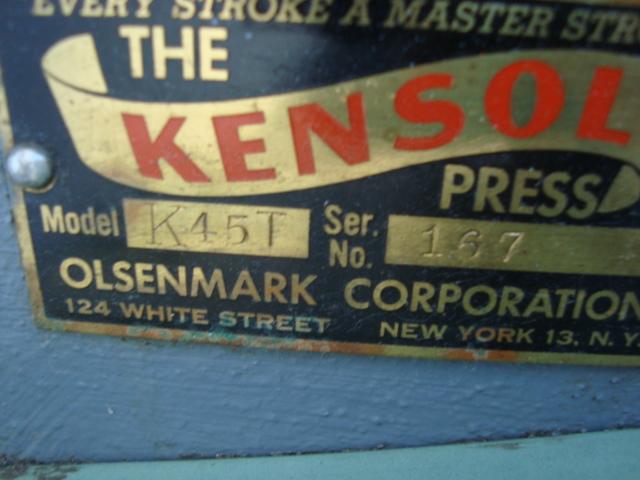 KENSOL FOIL STAMPING, MODEL K45T, SN# 167 2