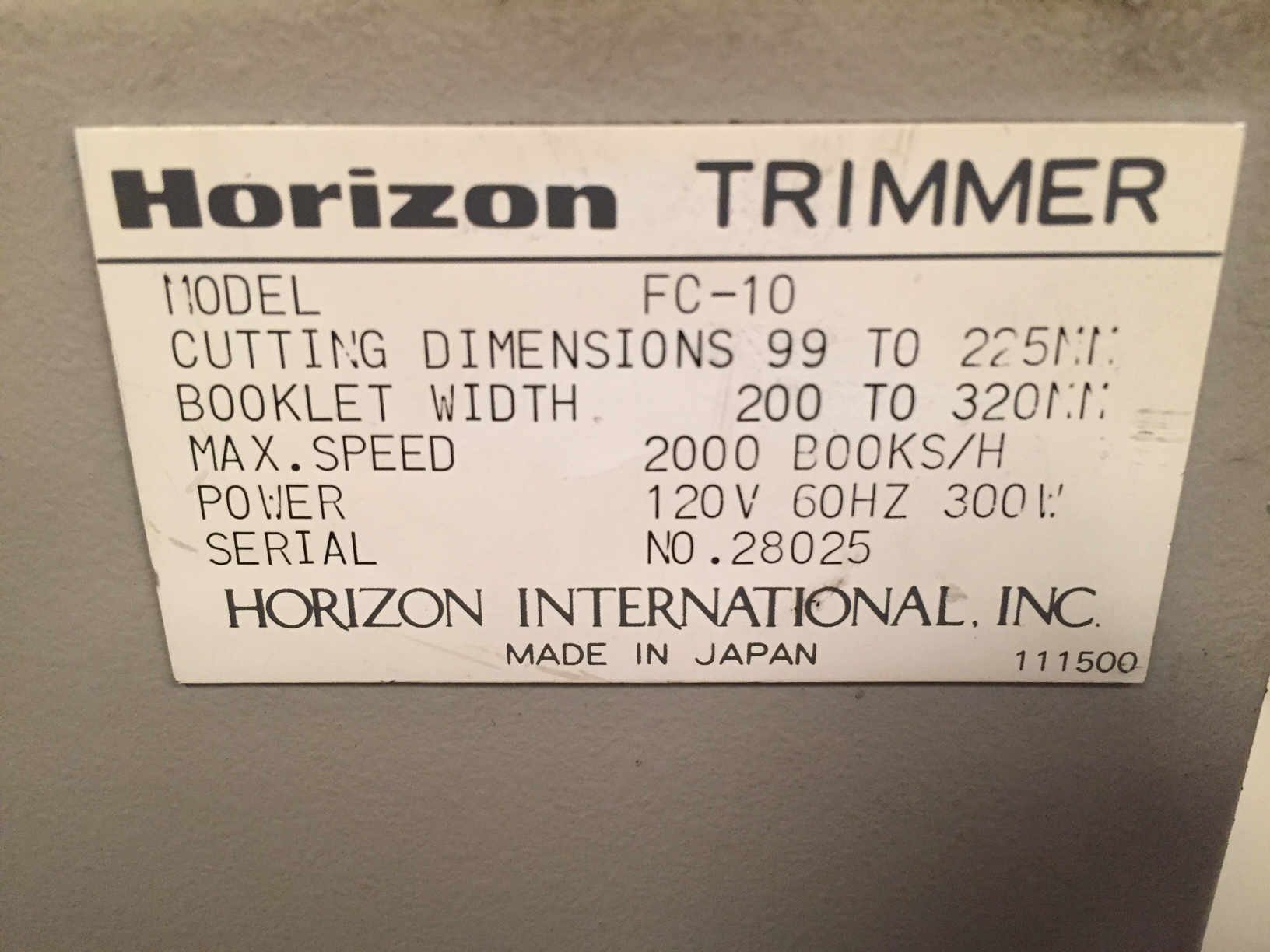 HORIZON MC 80a, APPROX YEAR: 2000 4