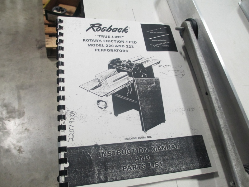 """ROSBACK 220 , PERF AND SCORE, 20"""", SN# 22070533 4"""