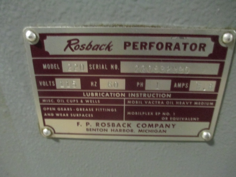 """ROSBACK 220 , PERF AND SCORE, 20"""", SN# 22070533 8"""