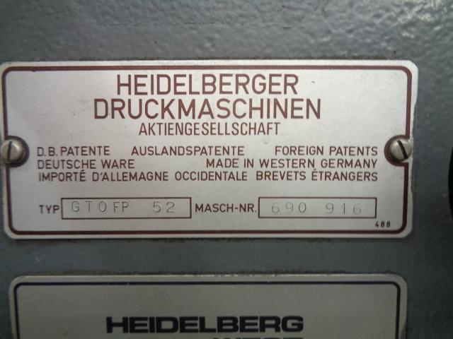 HEIDELBERG GTOFP 52, YEAR: 1987, SN # 690 916 9